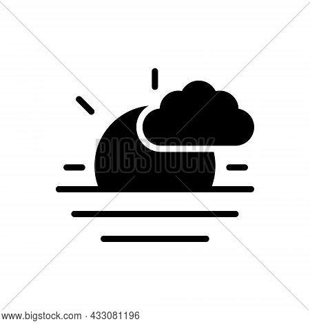 Black Solid Icon For Morning Morn Sunshine Aurora Before-noon Horizon Nature Sun Sunrise Cloud