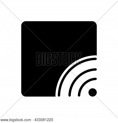 Black Solid Icon For Stream Broadcast Communication Wifi Multimedia Broadcasting Internet Router