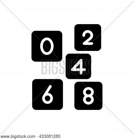 Black Solid Icon For Even Number Count Digit  Mathematical Calculated Numerical Letter Date