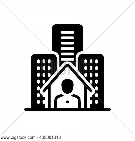 Black Solid Icon For Resident Inhabitant Denizen Hometown City Building House Residential Architectu