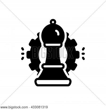 Black Solid Icon For Strategic Tactical Strategical Bishop Intelligence Corporate Chessboard Challen