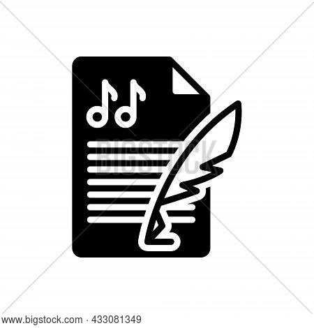 Black Solid Icon For Composition Melody Concept Music Creation Conformation Lyrics Formation Setup H