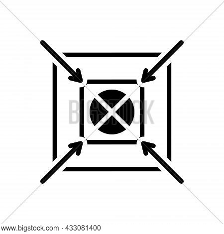 Black Solid Icon For Shoot Center Accurate Target Goal Ambition Archery Archer Concentration