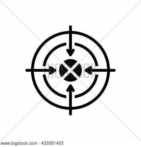 Black Solid Icon For Shoot Sport Accurate Target Goal Ambition Archery Archer Concentration