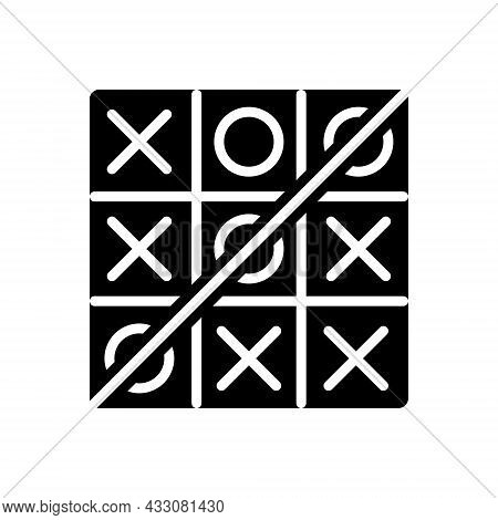 Black Solid Icon For Toe Tic-tac-toe Competition Crisis-cross Game Grid Strategize