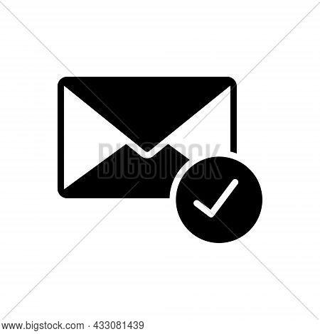 Black Solid Icon For Already Beforehand Email Selected Antecedently Check-mark Message Envelope