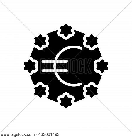 Black Solid Icon For European Union Community Flag Banner Continent Country Currency Nation Democrac