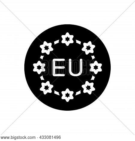 Black Solid Icon For European Union Community Flag Banner Continent Country Currency Nation  Democra