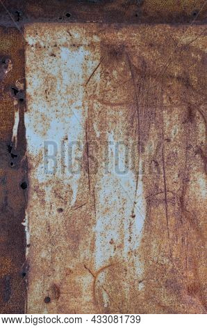 Old Light Blue Painted Grey Rusty Rustic Rust Iron Metal Frame Background Texture, Vertical Aged Dam