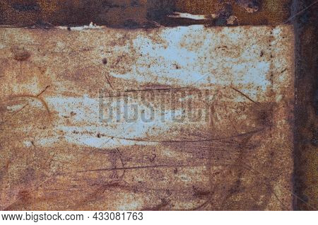 Old Light Blue Painted Grey Rusty Rustic Rust Iron Metal Frame Background Texture, Horizontal Aged D