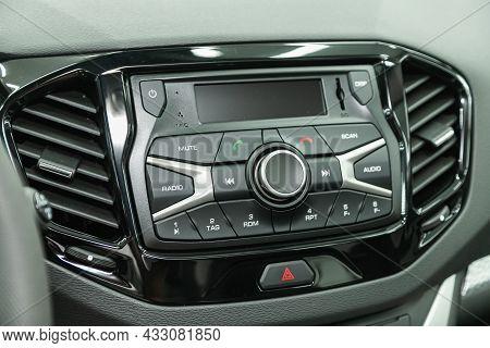 Novosibirsk, Russia - August   19, 2021:  Lada Vesta Sw Cross,audio Stereo System, Control Panel