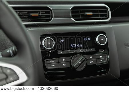 Novosibirsk, Russia - July  08, 2021:  Renault Duster,audio Stereo System, Control Panel