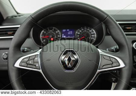 Novosibirsk, Russia - July  08, 2021:  Renault Duster,salon Of A New Stylish Car, Steering Wheel , D