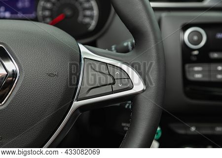 Novosibirsk, Russia - July  08, 2021:  Renault Duster,car Interior View With Dashboard, Multifunctio