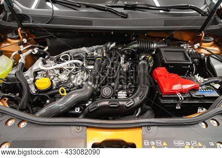 Novosibirsk, Russia - July  08, 2021:  Renault Duster,powerful Engine Closeup. Clean Motor Block.