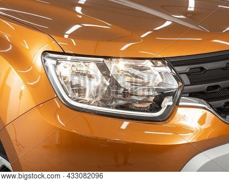 Novosibirsk, Russia - July  08, 2021:  Renault Duster, Detail Light Close Up Of On New Car. Exterior