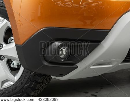 Novosibirsk, Russia - July  08, 2021:  Renault Duster,close-up Of Fog Lights In The Bumper