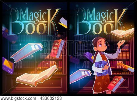 Magic Book Cartoon Posters, Young Girl In Night Library Or Reader Club With Glowing Volumes And Spar