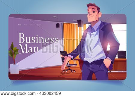 Businessman Banner With Leader In Office Conference Room. Vector Landing Page With Cartoon Illustrat