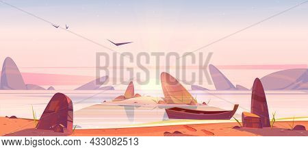 Sea Beach And Small Island In Water With Rocks At Sunrise. Vector Cartoon Morning Landscape Of Ocean