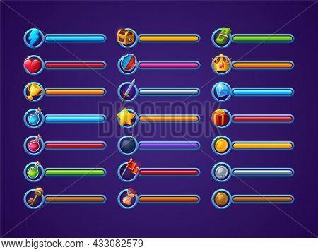 Game Progress Bars Vector Set, Ui Cartoon Interface Design Elements, Power, Life Or Health, Magic Sp