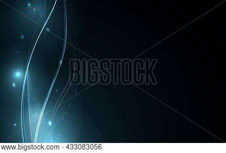 Blue Glowing Waves, Abstract Background. Abstract Bright Waves With Glowing Sparks And Dots.