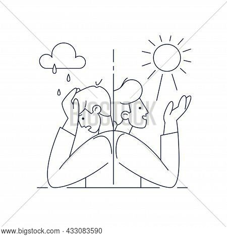 Bipolar Disorder Vector Illustration. Man Suffers Mood Swings, Mania And Depression Period Split. Ed