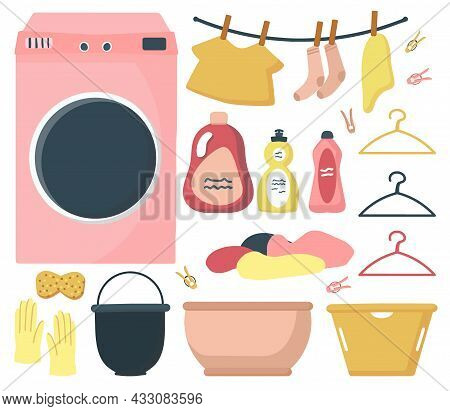 Big Set Of Elements Cleaning And Washing In The House. Washing Machine With Laundry. Baskets For Lau