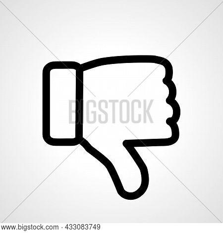 Hand Thumb Down, Dislike Vector Line Icon. Dislike Linear Outline Icon.