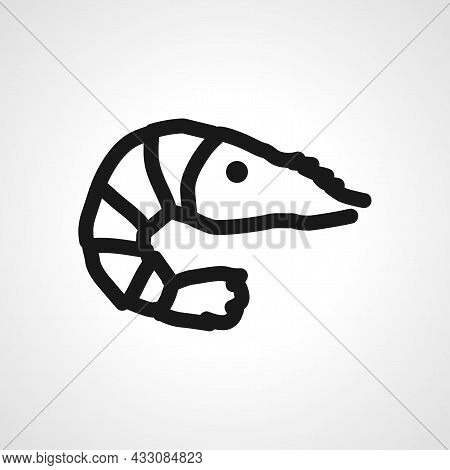 Shrimp Vector Line Icon. Shrimp Linear Outline Icon.