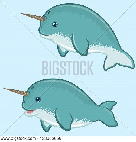 Vector Design Of Narwhal In Cartoon Shape, Aquatic Mammal With Childish Cartoon Shape