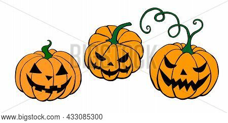 Set Of Vector Simple Scary Spooky Smiling Halloween Pumpkins Isolated. Jack O Lantern. Traditional D