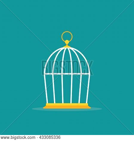 Locked Golden Bird Cage Icon. Trap, Imprisonment, Jail Concept. Empty Cage. Line Silhouette Of A Cag