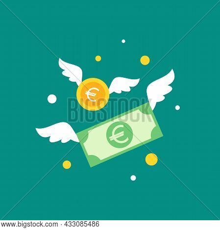 Gold Euro Coins And Banknotes With Wings. Flat Blue Background. Flying Money. Economy, Finance, Mone