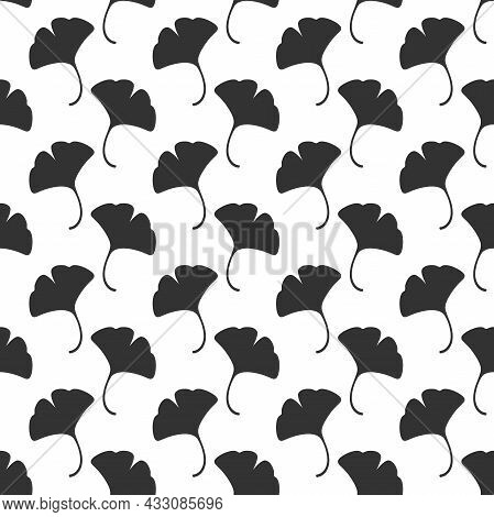 Seamless Floral Pattern Black Ginkgo Biloba Leaves. Floral Texture On White Background. Floral Sprig
