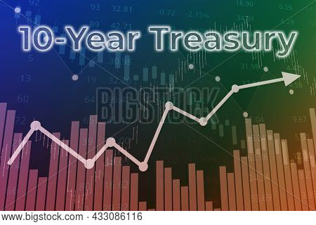 Price Change On Trading Bonds 10-year Treasury On Finance Background From Graphs, Charts, Columns, P