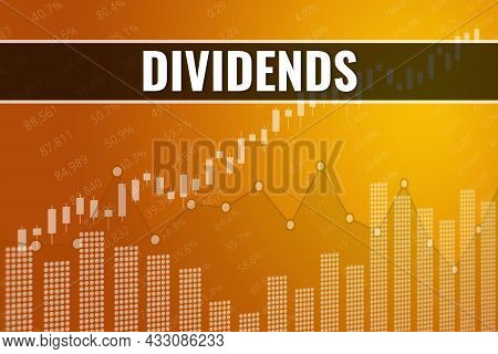 Rises And Fall Dividends On Yellow Financial Background. Trend Up And Down. 3d Illustration. Stock M