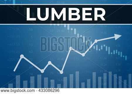 Price Change On Lumber Futures In World On Blue Finance Background. Trend Up And Down. 3d Illustrati