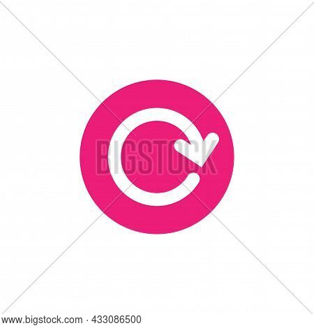 Refresh Or Repeat Icon . Two White Opposite Round Arrows In Pink Circle Isolated On White. Flat Icon