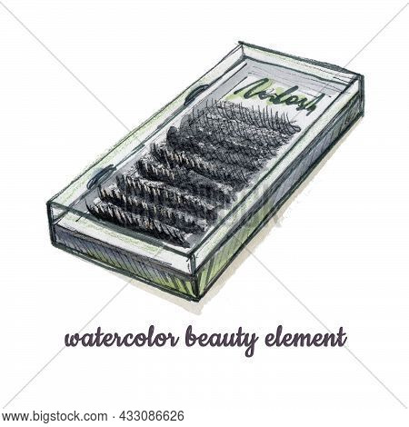 Watercolor Eyelash Extension Tool Element In The Style Of Doodle Style Beauty Theme On A White Backg