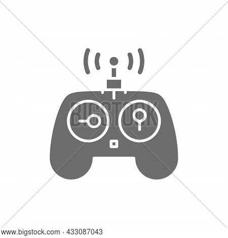 Control Panel For Drone, Remote Controller, Gamepad Grey Icon.