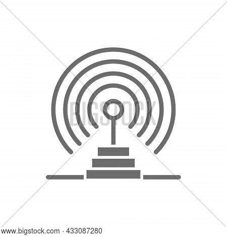 Radio Antenna, Radar Detection System, Receiver, Transmitter Grey Icon.