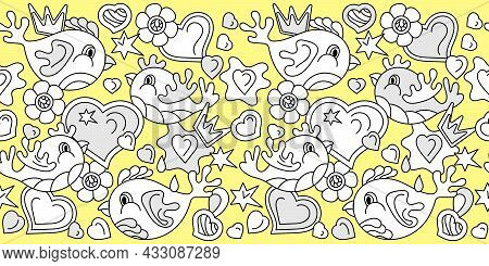 Seamless Border Doodles Birds. Flowers Hearts Stars Abstract Shapes, Hand Drawn Vector Illustration