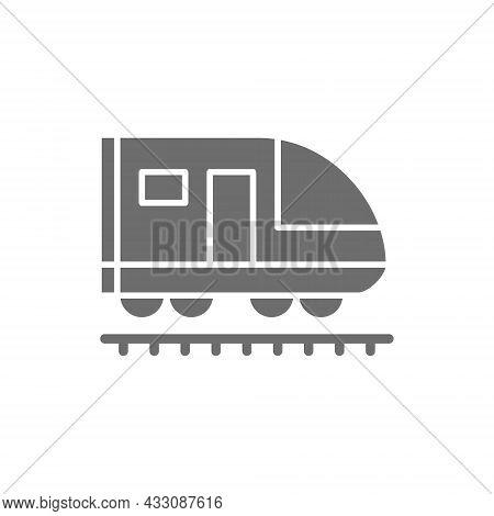 Train, Subway, Locomotive, Railroad Grey Icon. Isolated On White Background