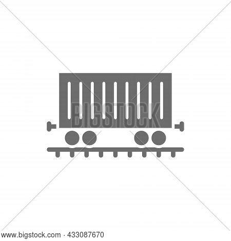Freight Car On Rails, Cargo Wagon, Train Grey Icon.