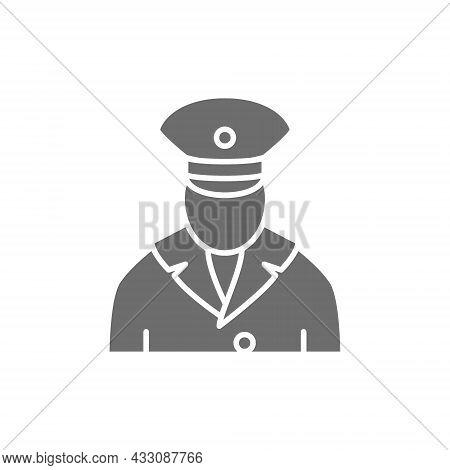 Railway Worker, Train Conductor, Subway Grey Icon.