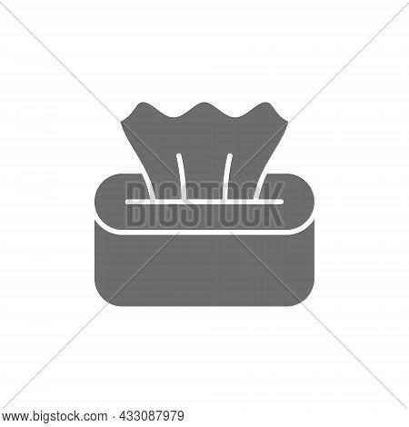 Wet Napkin In Box, Tissue Paper Grey Icon.