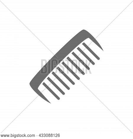 Comb, Hair Brush Grey Icon. Isolated On White Background
