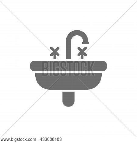 Washbasin, Wash Basin, Sink Grey Icon. Isolated On White Background
