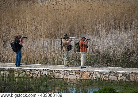 Photographers On Prespa Lake Photographing Birds With Telephoto Lenses